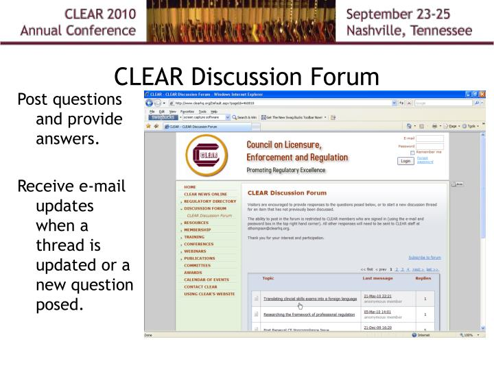 CLEAR Discussion Forum