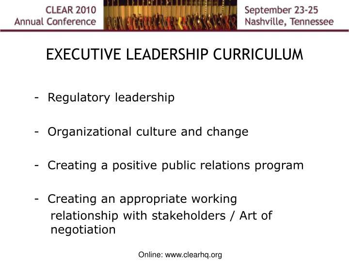 EXECUTIVE LEADERSHIP CURRICULUM