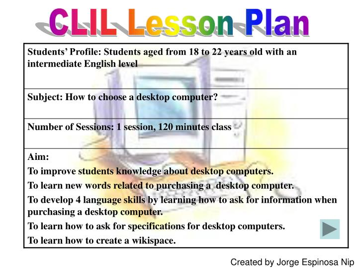 PPT - CLIL Lesson Plan PowerPoint Presentation - ID:4927663