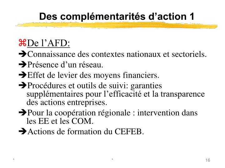 Des complémentarités d'action 1