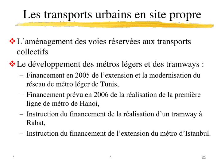 Les transports urbains en site propre