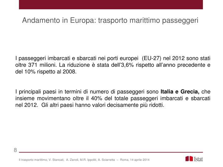 Andamento in Europa: trasporto marittimo passeggeri