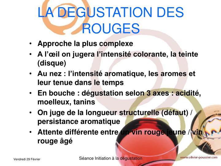 LA DEGUSTATION DES ROUGES