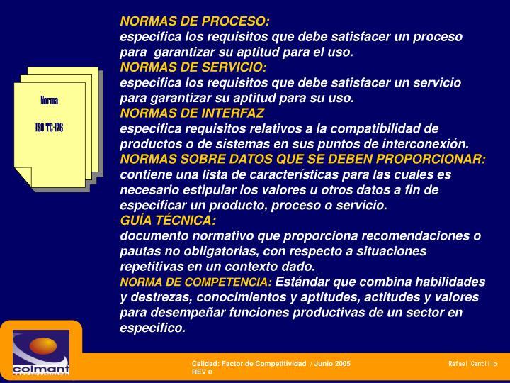 NORMAS DE PROCESO: