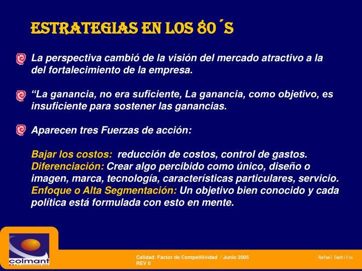 Estrategias en los 80´s