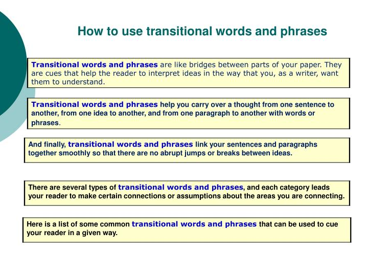 transition words for kids
