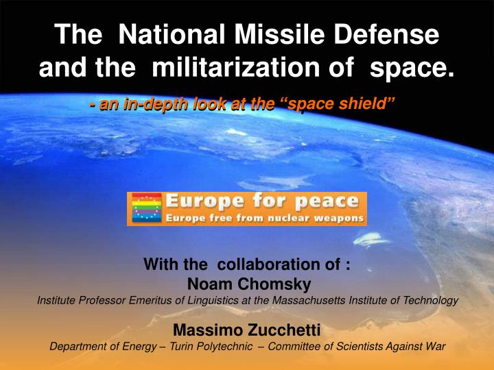 the national missile defense and the militarization of space n.