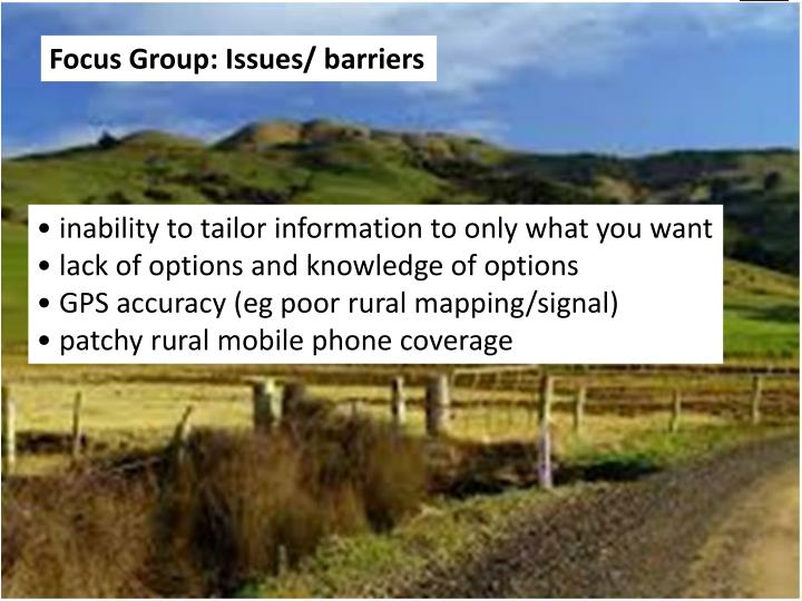 Focus Group: Issues/ barriers