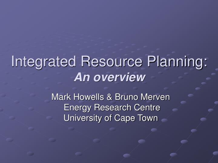 integrated resource planning an overview n.