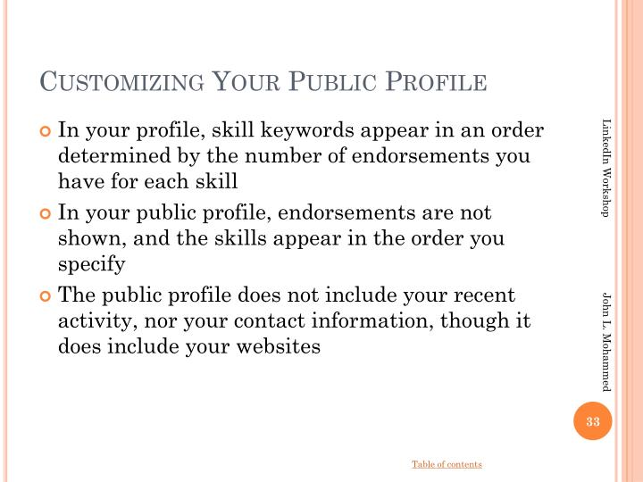 Customizing Your Public Profile