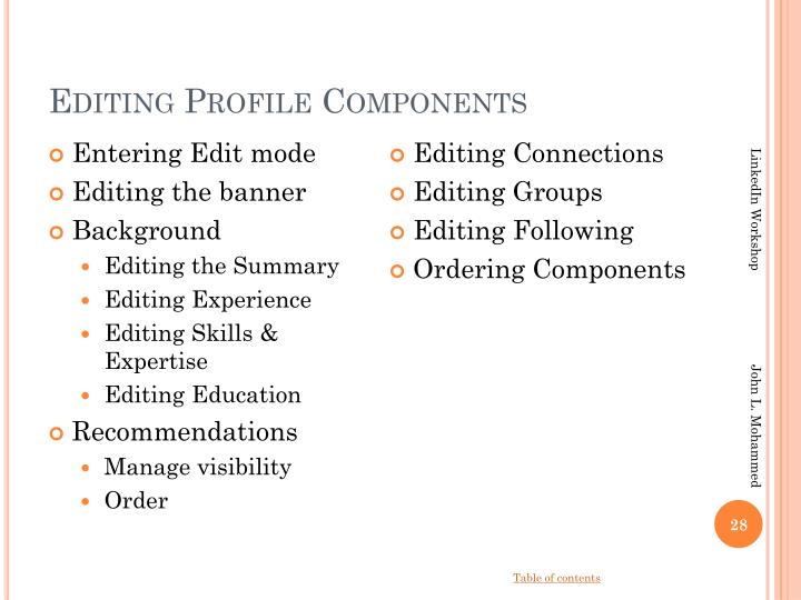 Editing Profile Components