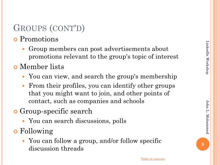 Groups (cont'd)