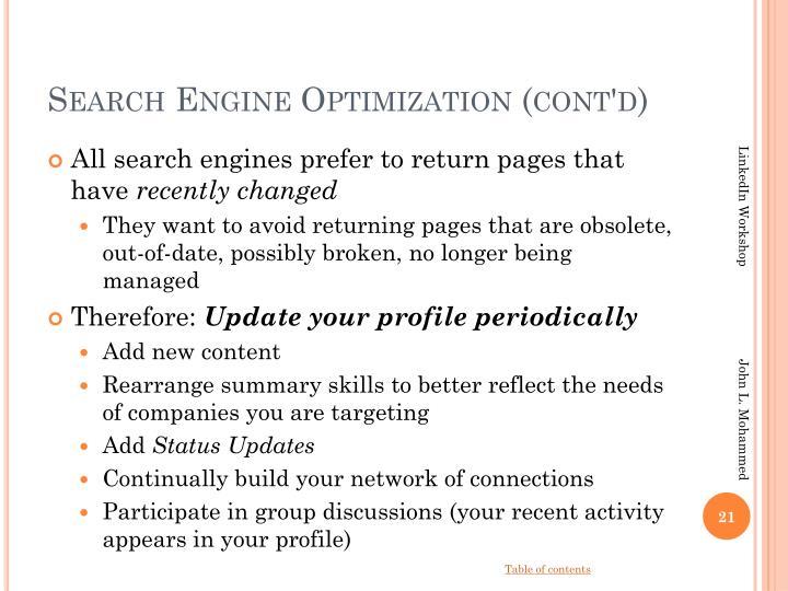 Search Engine Optimization (cont'd)