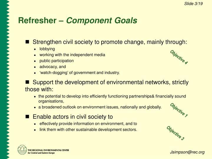 Refresher component goals