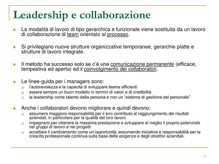 Leadership e collaborazione