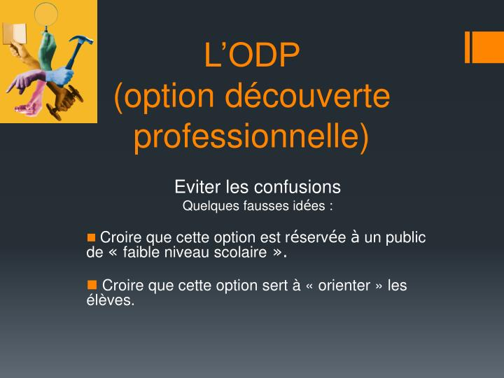 L odp option d couverte professionnelle