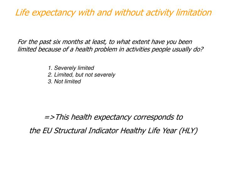 Life expectancy with and without activity limitation