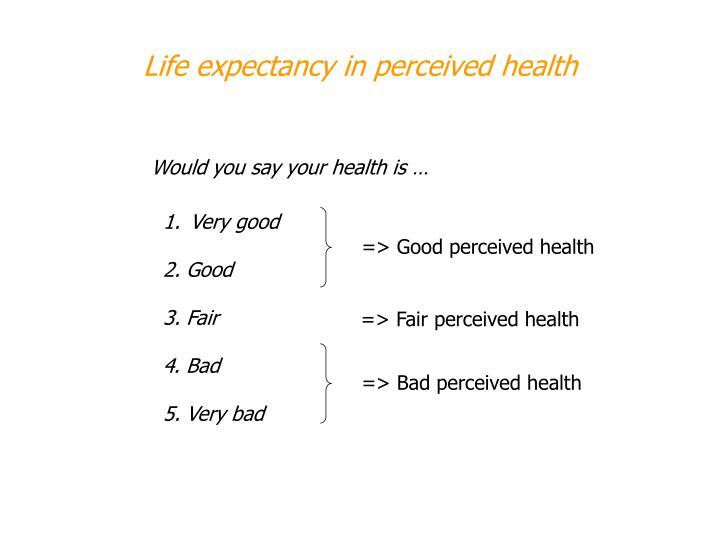 => Good perceived health