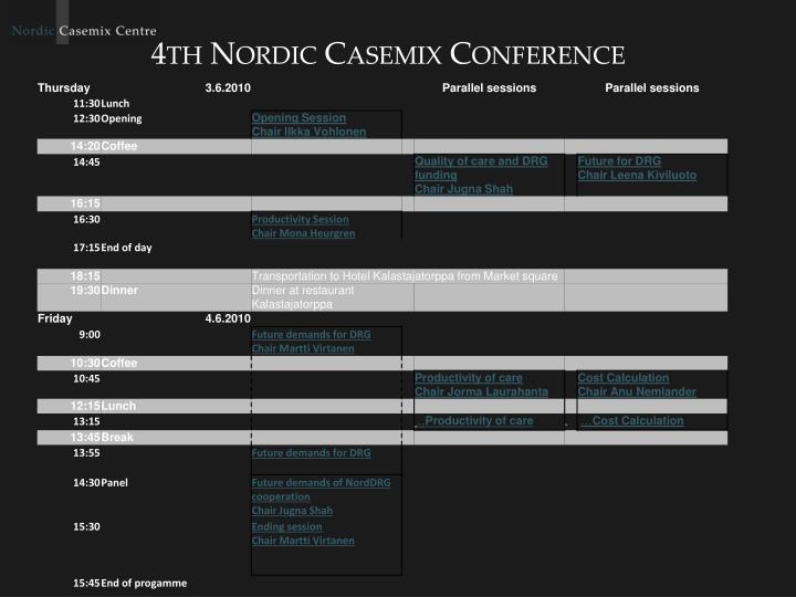 4th nordic casemix conference n.