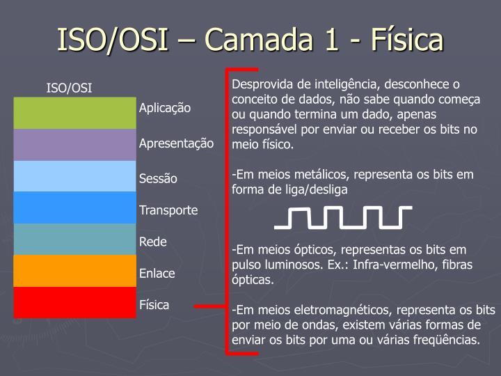 ISO/OSI – Camada 1 - Física