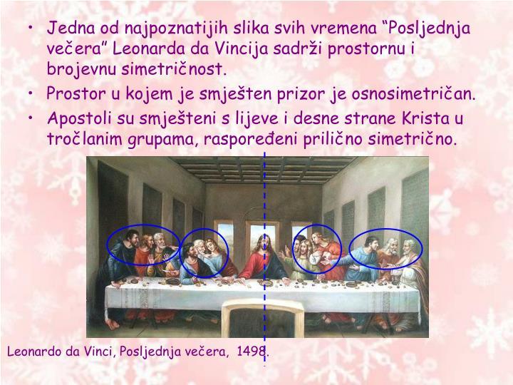 """Jedna od najpoznatijih slika svih vremena """"Posljednja večera"""" Leonarda da Vincija sadrži prostornu i brojevnu simetričnost."""
