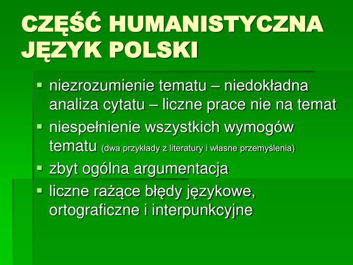 Cz humanistyczna j zyk polski