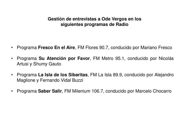 Gestión de entrevistas a Ode Vergos en los siguientes programas de Radio