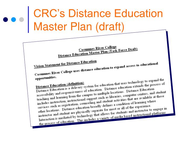 CRC's Distance Education Master Plan (draft)