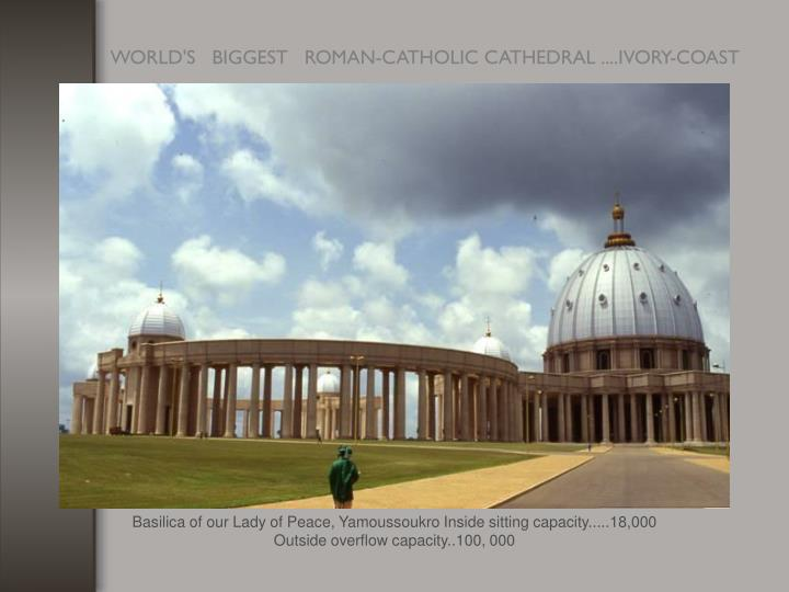Basilica of our Lady of Peace, Yamoussoukro Inside sitting capacity.....18,000