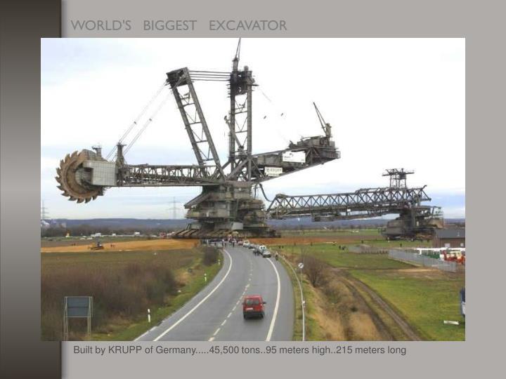 Built by KRUPP of Germany.....45,500 tons..95 meters high..215 meters long
