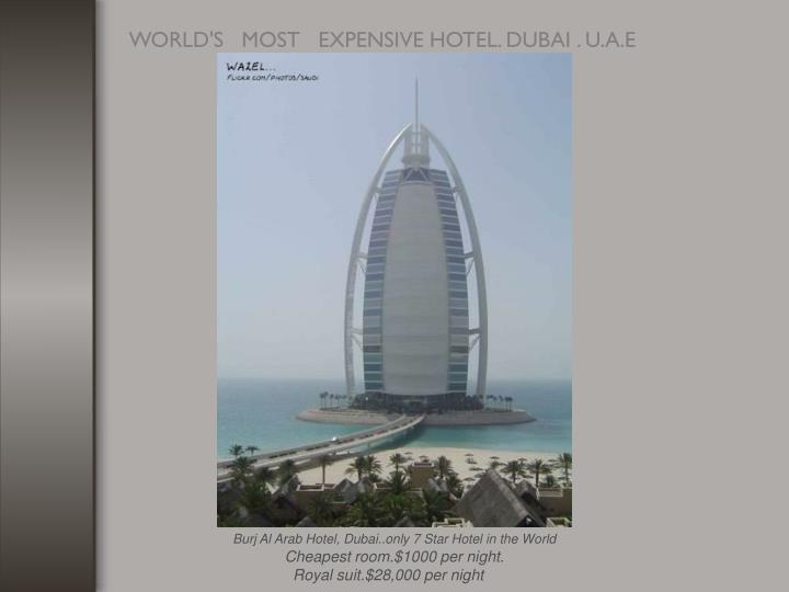 Burj Al Arab Hotel, Dubai..only 7 Star Hotel in the World