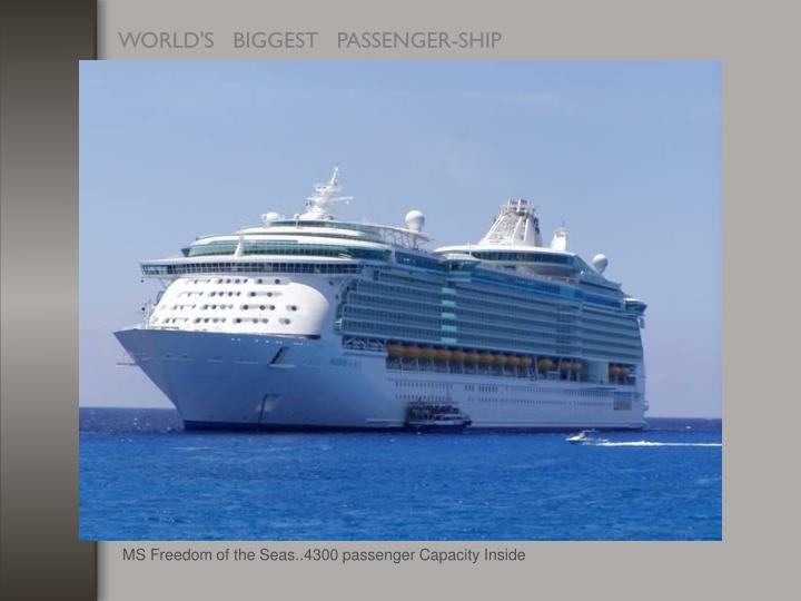 MS Freedom of the Seas..4300 passenger Capacity Inside