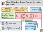 incertidumbre de una funci n de varias variables