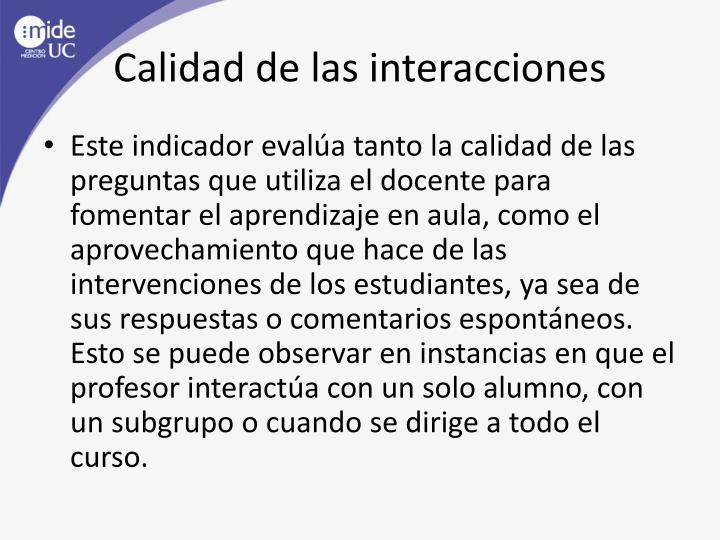 Calidad de las interacciones