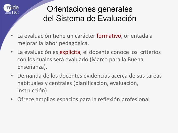 Orientaciones generales del sistema de evaluaci n