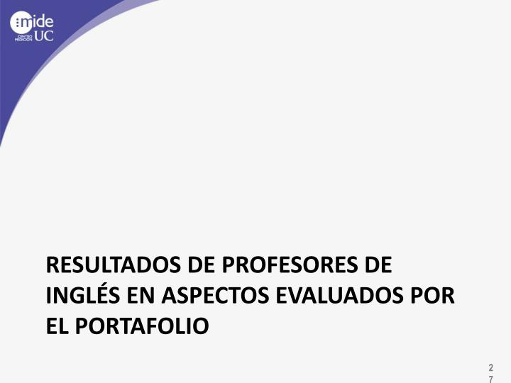 Resultados de profesores de inglés en aspectos evaluados por el portafolio