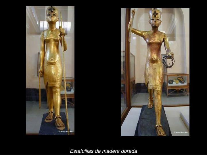 Estatuillas de madera dorada