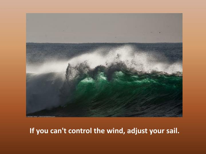 If you can't control the wind, adjust your sail.