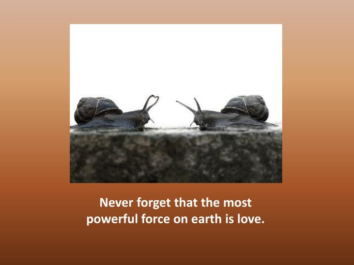 Never forget that the most powerful force on earth is love.