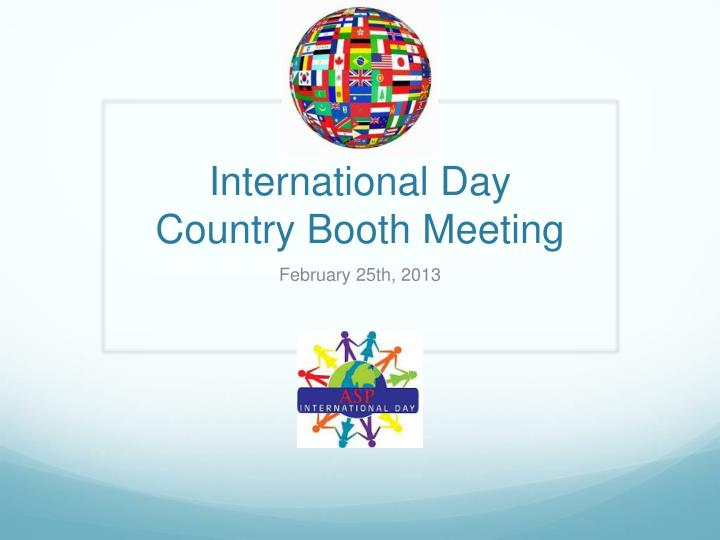 international day country booth meeting n.