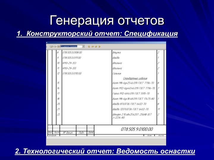 1.  Конструкторский отчет: Спецификация