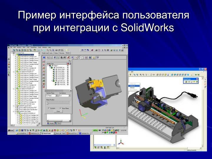 Пример интерфейса пользователя при интеграции с