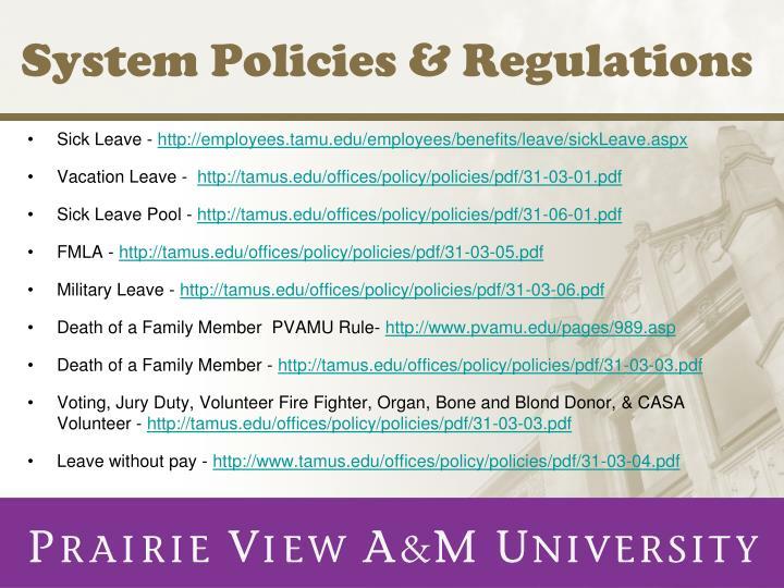 System policies regulations
