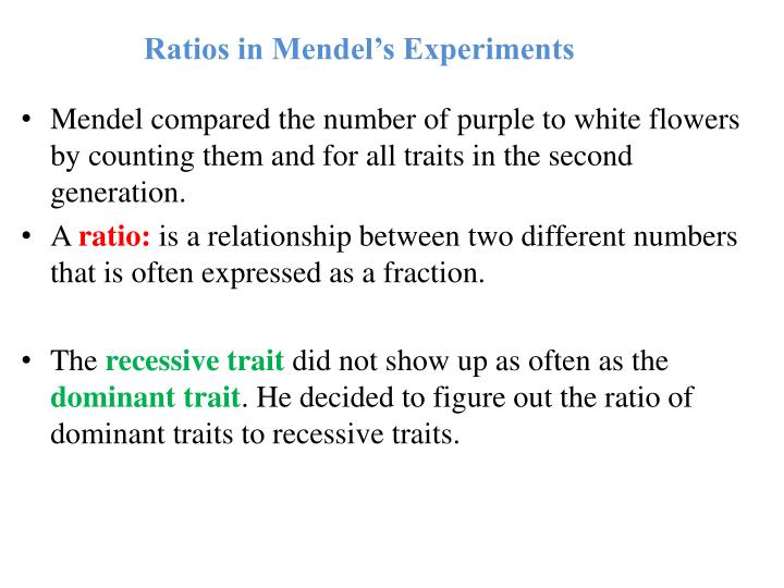 Ratios in Mendel's Experiments