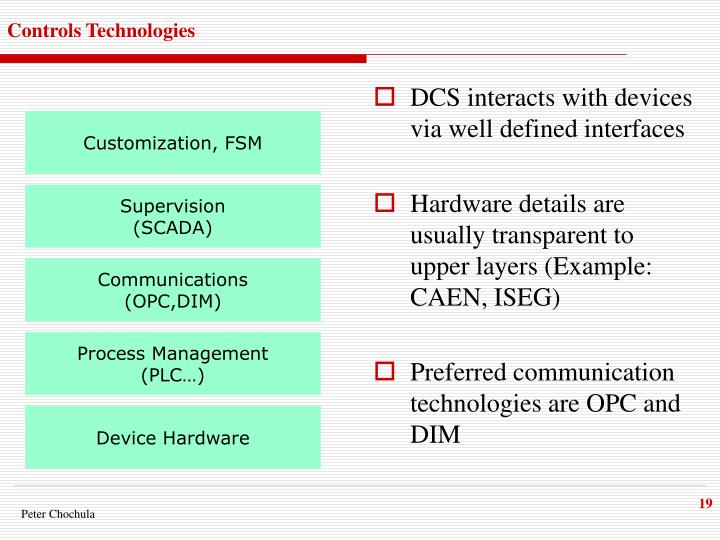 DCS interacts with devices via well defined interfaces