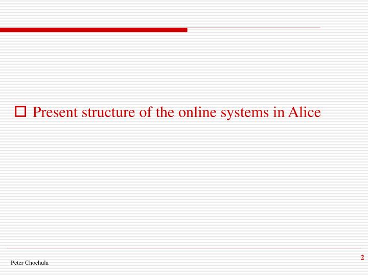 Present structure of the online systems in Alice