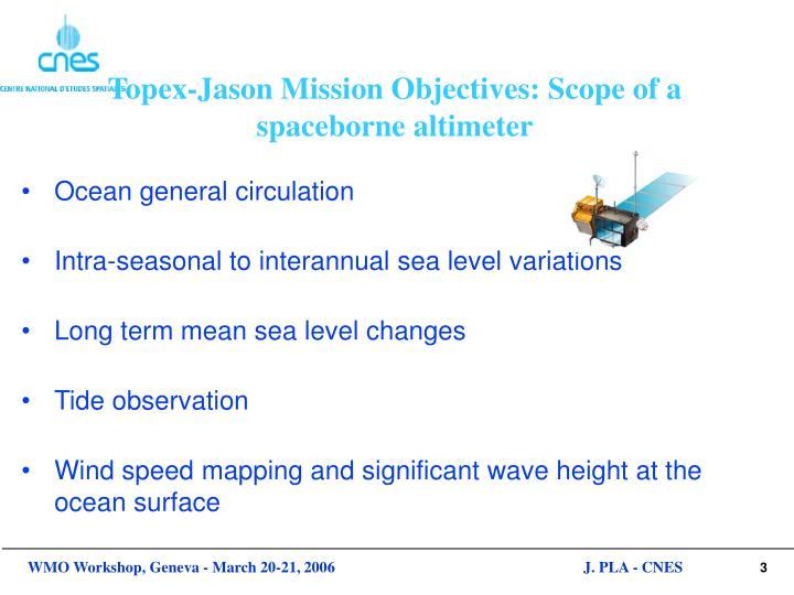 Topex jason mission objectives scope of a spaceborne altimeter