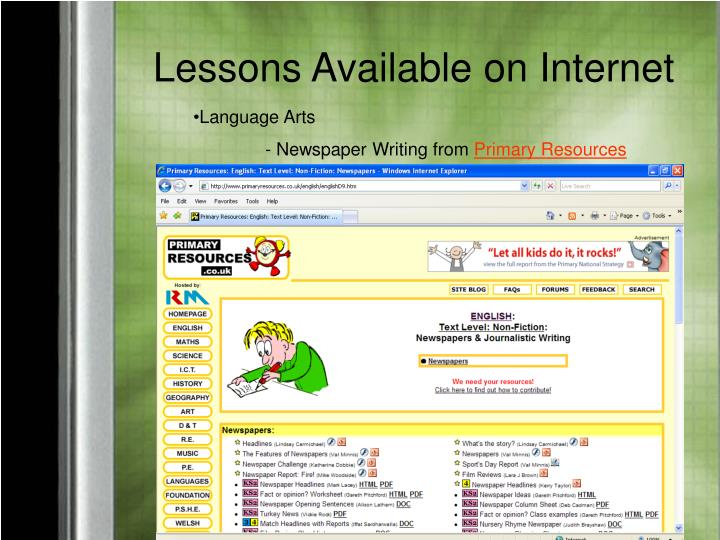 Lessons Available on Internet