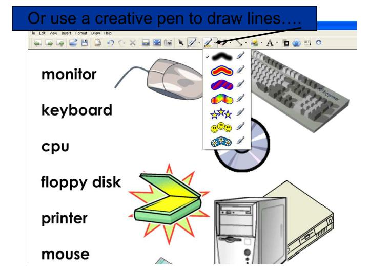 Or use a creative pen to draw lines….