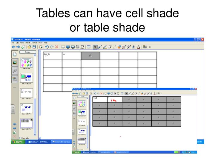 Tables can have cell shade